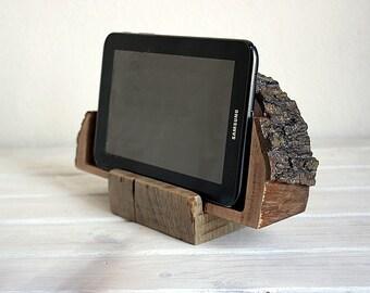 Docking station for iPad,Tablet . Wooden handmade unique decor.Natural oak wood.