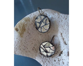 Rustic mosaic mirror earrings, gift for her, free shipping