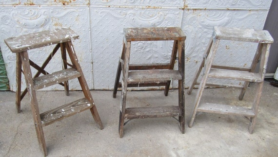 Escabeau Bois Vintage : Rustic Wooden Step Ladder