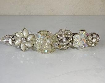 Hair Barrette Vintage Jewelry Rhinestone Crystal Handmade OOAK