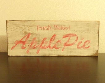 SALE**Vintage Inspired Apple Pie Sign, wood handmade hand painted sign, distressed sign, kitchen signs