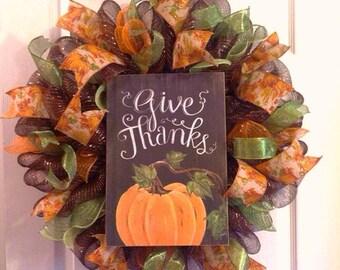 Thanksgiving Wreath/ Fall Wreath/ Pumpkin Wreath/ Give Thanks Wreath/ Fall Mesh Wreath/ Fall Door Decor