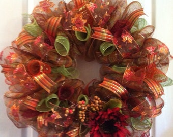 Fall Wreath/ Harvest Wreath/ Thanksgiving Wreath/ Fall Deco Mesh Wreath/ Fall Door Decor