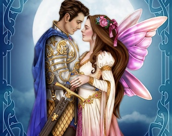 Eternal Love  -  Fairy Knight Fantasy Wedding Romantic Nouveau Couple Print - Brigid Ashwood