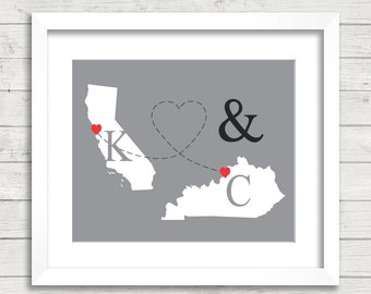 8x10 USA Love Maps - San Francisco, California - Louisville, Kentucky - Two States, One Print - Any States Available - Long Distance Love