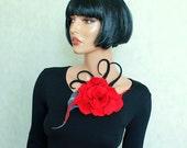 Red black brooch felt  Felted brooch Art flower Unique pin Fancy flower broach Wool merino red black flower