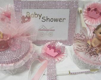 Baby Shower Princess Baby Girl Pink Set Centerpiece Badge Corsage You Pick Item