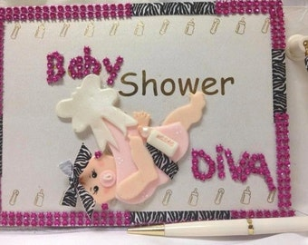 Baby Shower Diva Girl Guest Book With Pen Mom to Be Keepsake