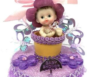 Baby Shower Baby in Flower Pot Centerpiece Cake Top Decoration Keepsake