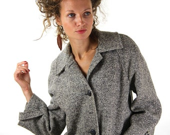 Grey winter coat, women overcoat, wool, winter fashion coat, M, medium, 38