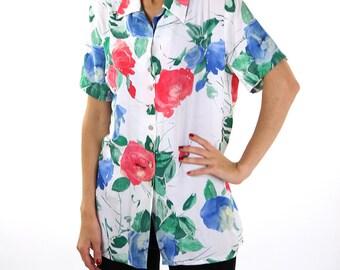 Soviet vintage blouse, floral women blouse, L, 90s, hipster, retro.