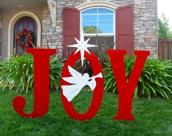 Joy nativity outdoor christmas holiday yard art sign for Large outdoor christmas signs