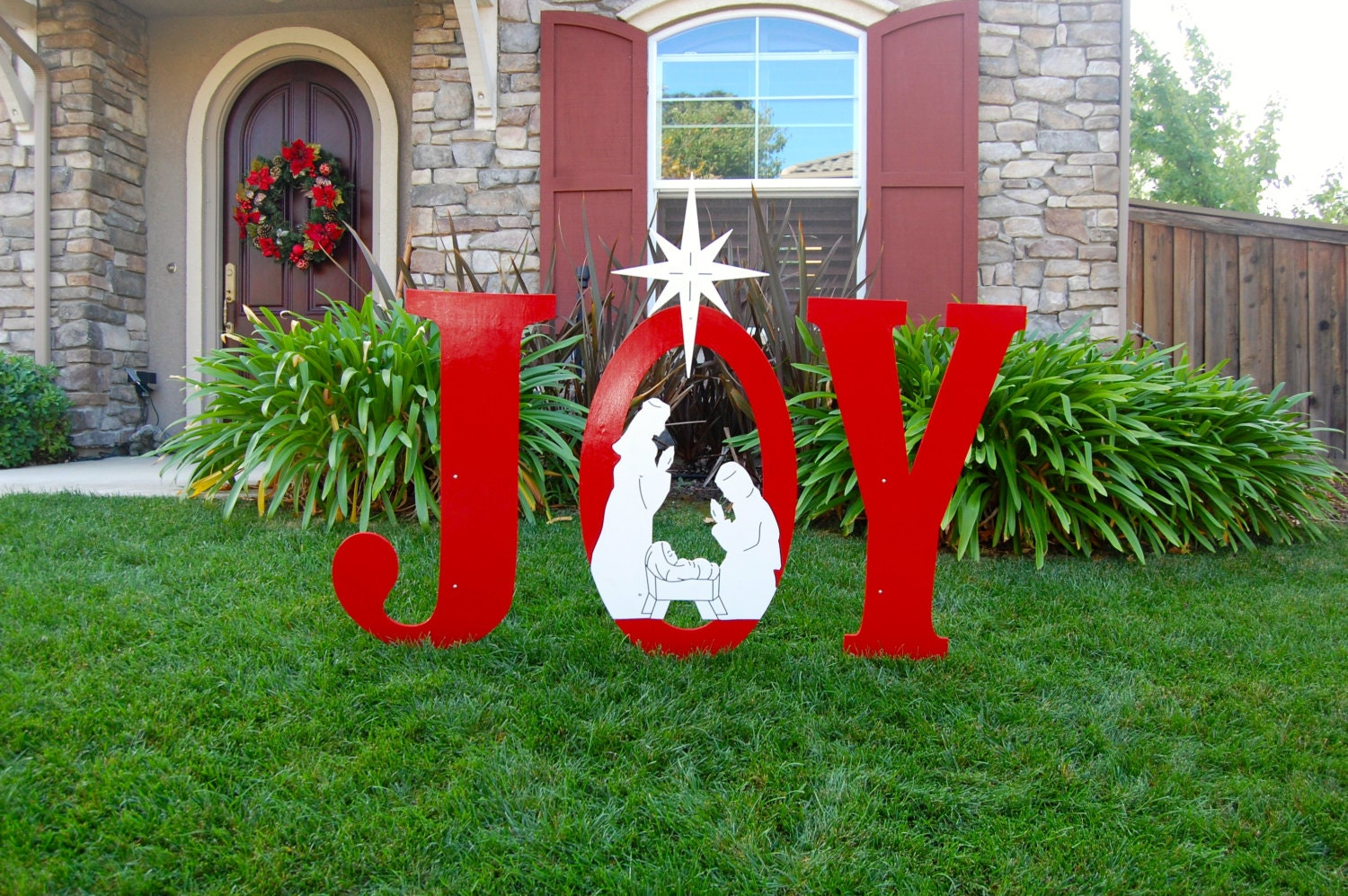 Joy nativity outdoor christmas holiday yard art sign large for Large outdoor christmas signs