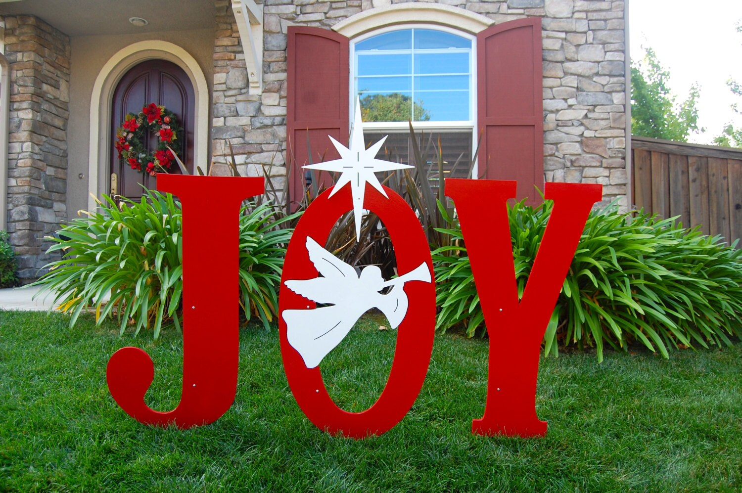 Joy with trumpeting angel outdoor christmas holiday yard art for Outdoor christmas sculptures