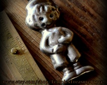 Mid Century .925 Little Dutch Boy-esque Possibly Taxco Hecho En Mexico  Signed Hollow Satin Finish Sterling Brooch Pin