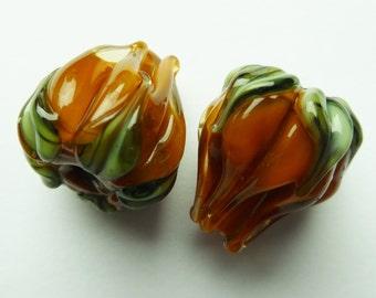 Goldyellow flowerbuds handmade lampwork beads.