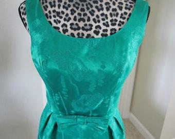 2 PC. GREEN BROCADE Dress & Matching Coat 1960s