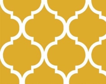Quatrefoil Fabric ~ Mustard Quatrefoil Fabric ~ Fabric By The Yard ~ Moroccan or Geometric Style Fabric