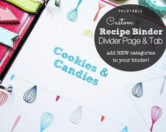 25% OFF CUSTOM Recipe Binder Divider Pages and Tabs Pdf Printable - Add to your Recipe Binder - choose your own color and text - whisk theme