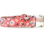 Autumn Floral Dog Collar - Coral and Brown Flower Adjustable Metal Buckle Girl Dog Collar