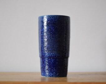 PALSHUS Denmark - tall vase - blue - APLS C4 and D10 - Danish mid century