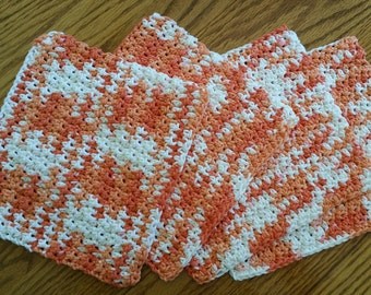 4 Hand Crocheted Cotton Dish Rags in Poppy -Variegated