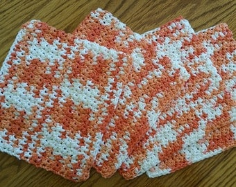4 Hand Crocheted Cotton Dish Rags in Poppy