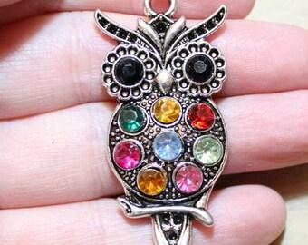 2 Antique Silver Colorful Rhinestone Owl Pendant