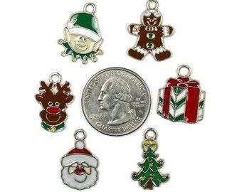 6 Enamel Christmas Charms