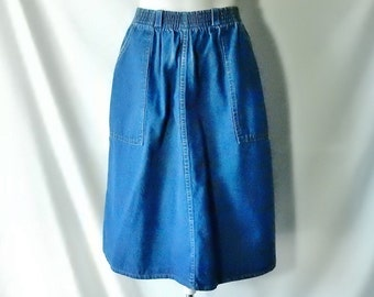 Sz 4 6 S Denim Skirt - Made In USA - Below the Knee Length - Dungaree Jean