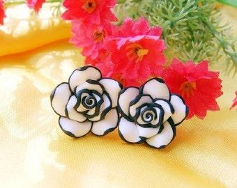"""Pair Elegant Cute Black White Rose Flower Earrings gauges #plugs 00g 7/16"""" 1/2"""" 9/16"""" 9mm 11mm 12m 14mm"""