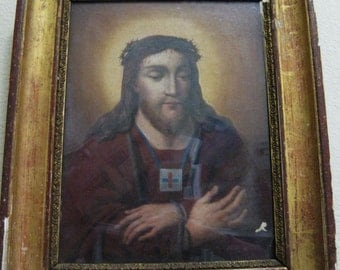 1700s-1800s Jesus Christ Religious Catholic Painting Crown of Thorns Gold Wood Frame