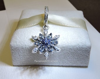 Pandora Sterling Silver Crystalized Snowflake, Blue Crystals & CZ
