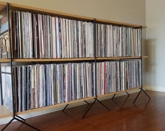 Custom made Vinyl Record Shelving Storage Unit holds up to 800 albums.