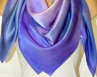 Silk Shawl Hand Painted - Purple- Blue.