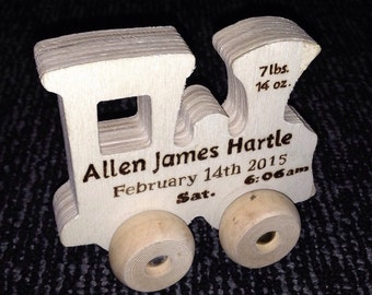 Personalized train etsy personalized toy train wood burned engraving custom baby gift personalized train with custom negle Gallery