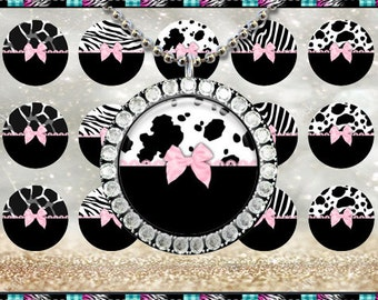 "Editable Animal Print Mix Pink Bow 160 - INSTANT DIGITAL DOWNLOAD - 1"" Bottlecap Craft Images (4x6) Digital Collage Sheet"