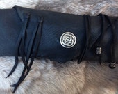 handmade black deerskin pouch with celtic knot, primitive pouch, tribal bag, frontier pouch, rendevous, reenactment, USA made, tobacco pouch