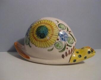 Vintage Mexican Hand PAinted Ceramic Snail Sculpture