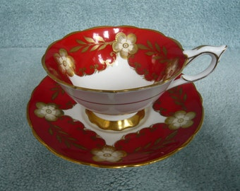 Vintage Royal Stafford Red White Gold CUP and SAUCER  Circa 1950s