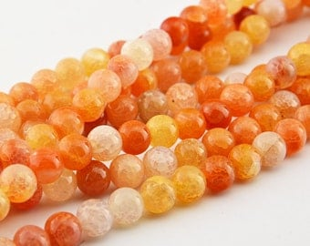 "15""  Orange   Dragon  Veins  Agate  Round  Beads 10mm , 8mm"