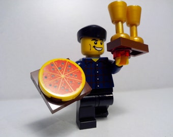 Lego Waiter with pizza and tray with glasses