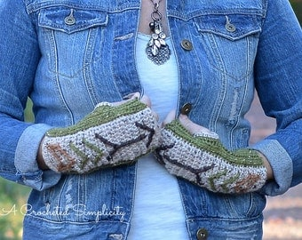"Crochet Pattern: ""Boho Chic"" Arrow Fingerless Gloves **Permission to Sell Finished Items INSTANT DOWNLOAD"