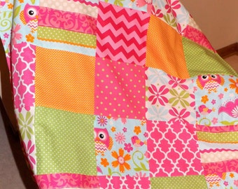 Owl patchwork fleece patchwork back baby blanket quilt Ready to Ship