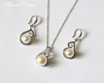 Bridesmaids Necklace And Earring Set, Pearl Pendant, Bridesmaids Accessories, Pearl Earrings, Pearl Necklace, Bridesmaids Gifts, Wedding Set