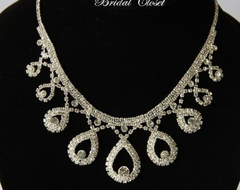 Bridal Necklace Crystal, Crystal Necklace, Bridal Crystal Necklace, Bridal Accessories, Wedding Jewelry, Wedding Necklace, Rhinestone