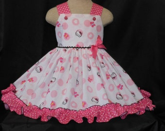 Handmade, Unique Hello Kitty Dresses, Custom Boutique, Girls and Toddler,Limited Sizes, Unique and Handmade, Hello Kitty Dress, Pink & White
