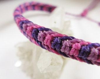 Purple Lila and Pink Fuchsia Friendship Surf Bracelet Macrame Handmade