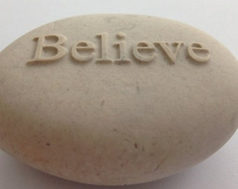 Embossed River Rock Stone with Inspirational Word