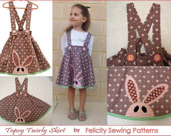 EASTER! Sewing pattern Topsy Twirly Skirt sizes 1 to 12 years by Felicity Patterns PDF downloadable sewing pattern girls skirt